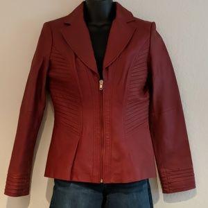 🔥🔥🔥Red Leather Blazer Jacket